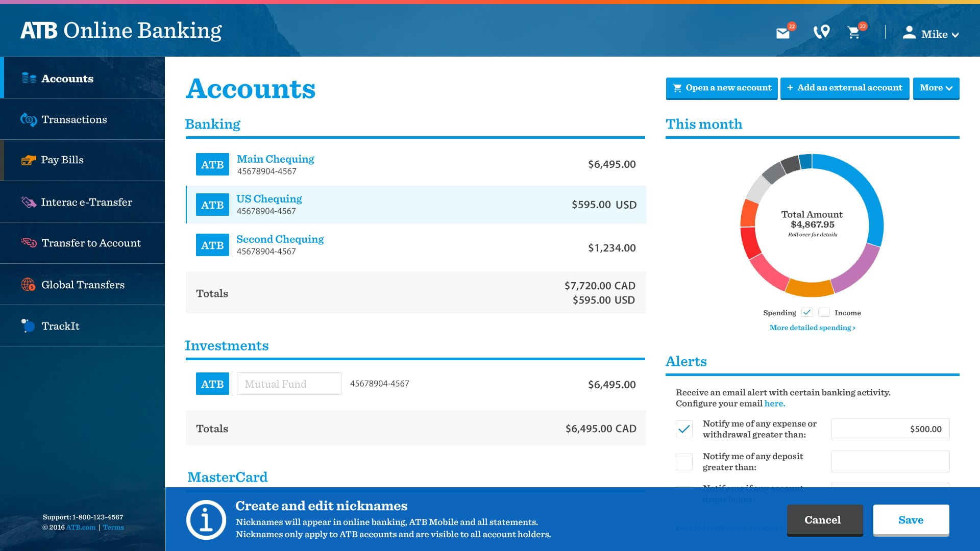 ATB Online accounts redesign